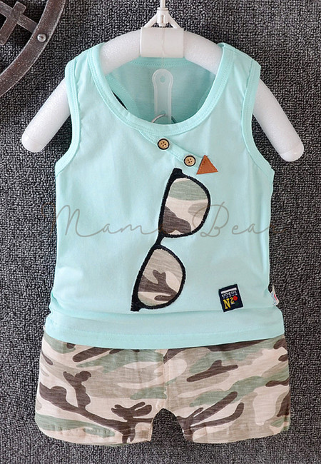 Sunglass Camouflage Seeveless Kids Top and Shorts Set