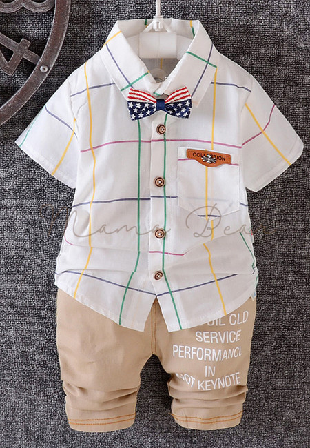 USA Bowtie Plaid Polo Kids Top and Pants Set