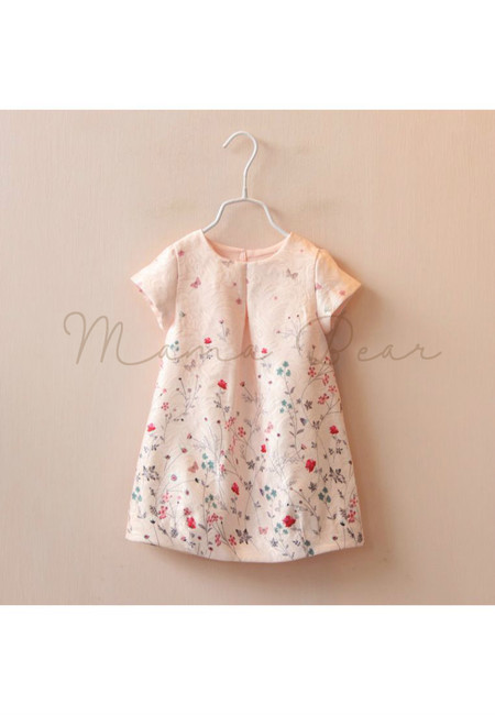 Lovely Flower And Butterfly Print Shortsleeve Kids Dress
