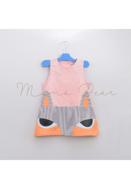 Cute Fox Print Sleeveless Kids Dress