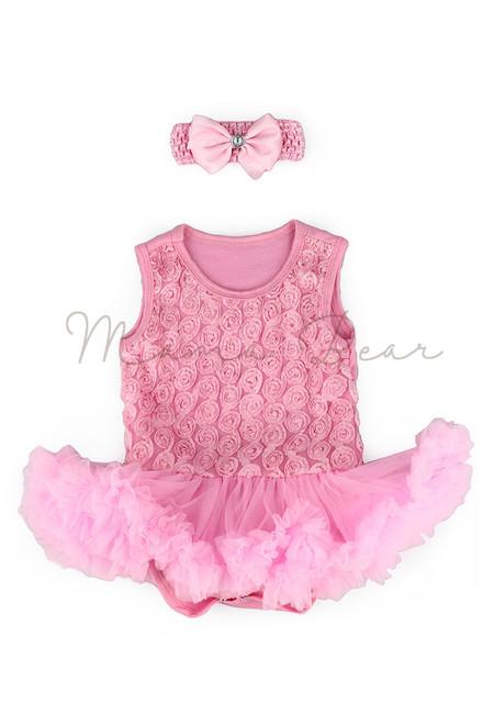 Pink Ruffled Roses Baby Tutu Set
