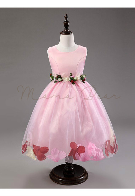 Little Princess Sleeveless 3D Flower Ball Gown Dress