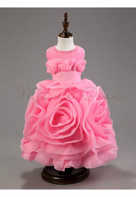 Summer Organza Multilayered Flower Sleeveless Ball Gown