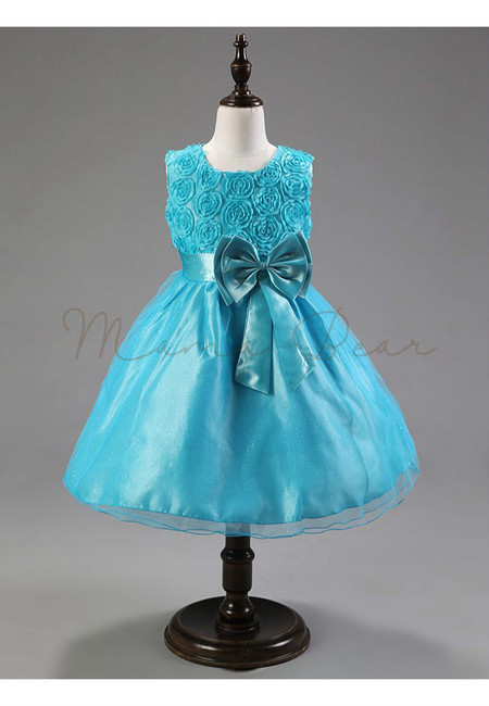 Glitter Rose With Bowknot Sleeveless Party Dress