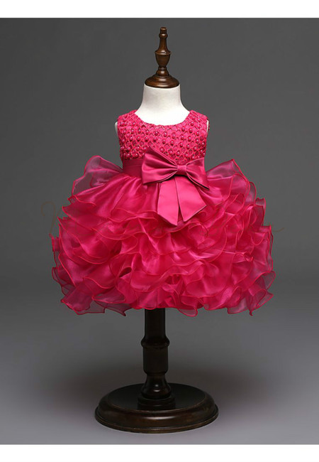 Lovely Beads With Bowknot Multilayered Ball Gown Dress