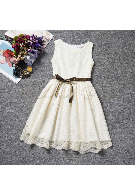 Stylish Lace Bow Sleeveless Party Dress