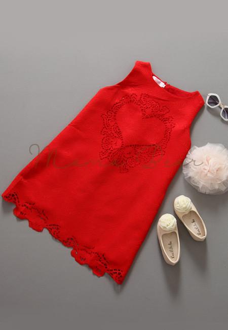 Elegant Deep Heart Print Sleeveless Dress
