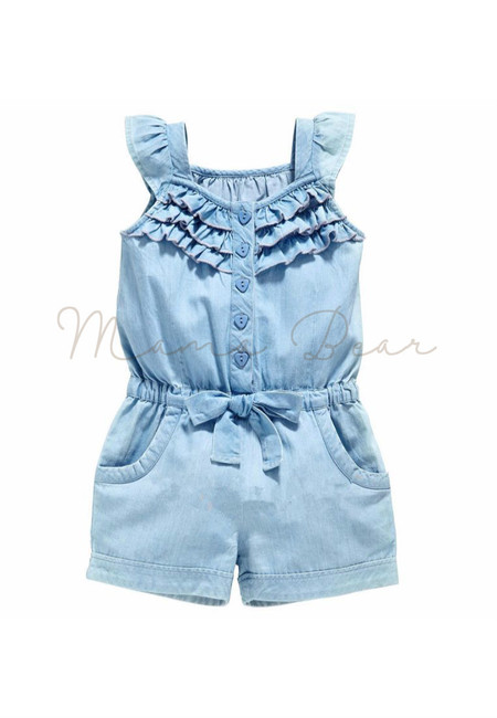 Frilly Button Through Bowtie Kids Romper