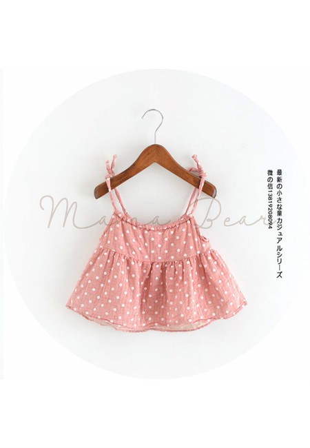 Lovely Polka Dot Sleeveless Kids Top
