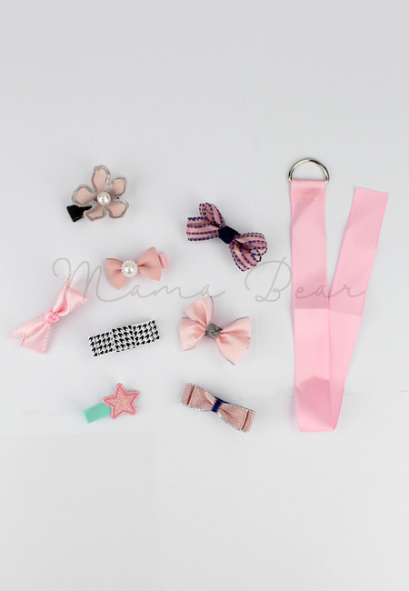 Lovely Pink Ribbons Kids Hair Clip Set With Clip Organizer