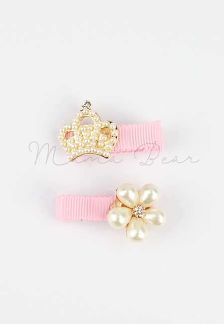 Crown And Flower Kids Hair Clip Set