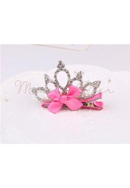 Princess Crown Kids Hair Clip (Rose Pink)