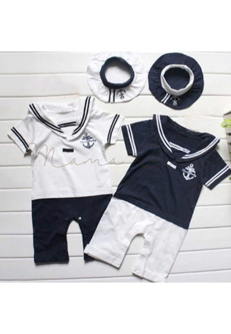 Sailor Anchor Print Kids Romper With Hat