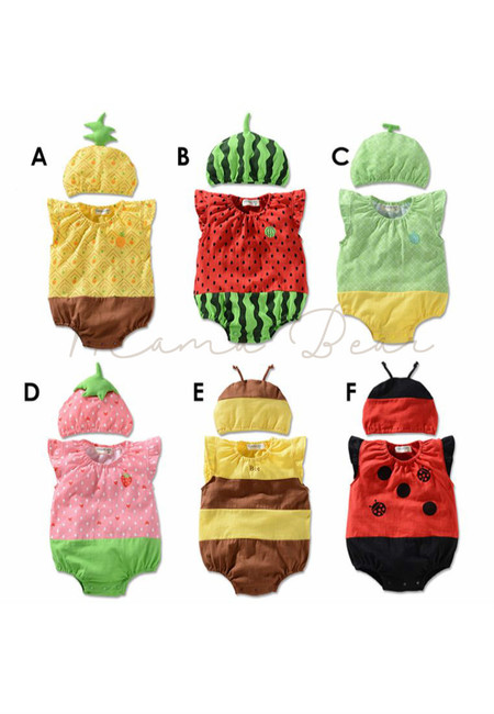 Lovely Design Kids Sleeveless Bodysuits With Hat