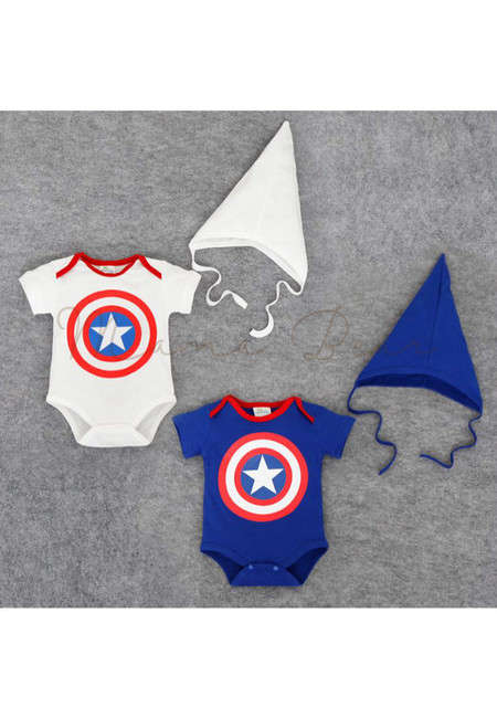 Captain America Kids Bodysuit With Hat