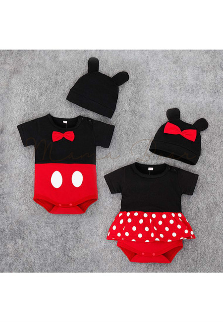 Mickey or Minnie Mouse Kids Bodysuit With Hat