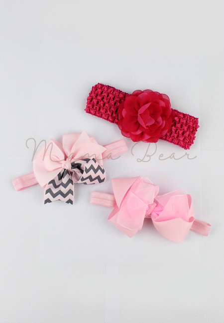 Chic Baby Accessory Set  (Pink&Rose Pink)