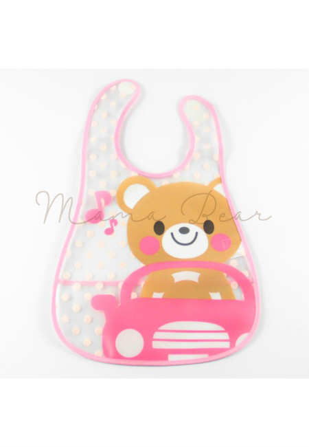 Driving Teddy Bear Waterproof Baby Bib With Pocket