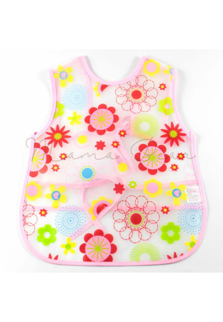 Adjustable Flower Waterproof Baby Bib With Pocket