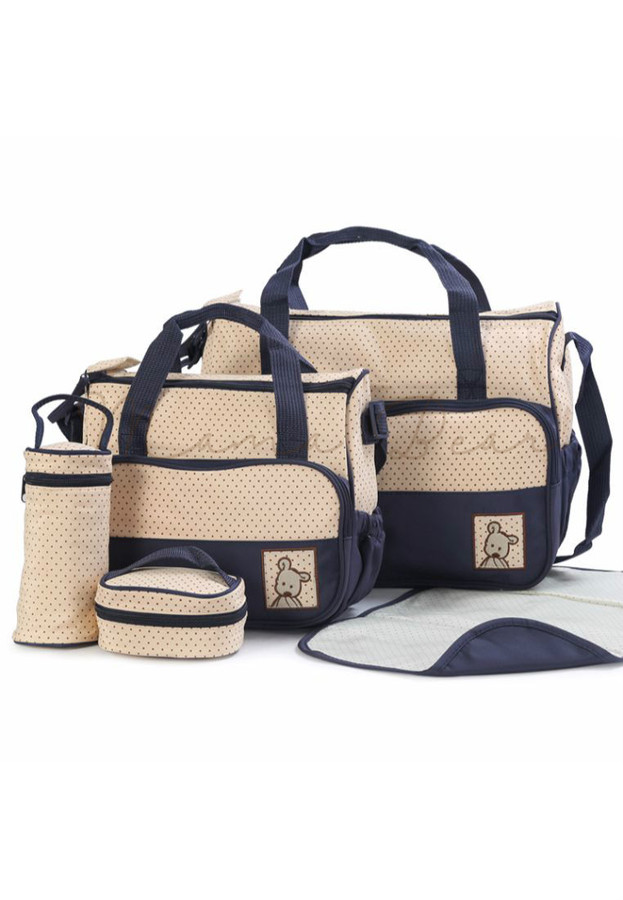 5 in 1 Baby Changing Diaper Nappy Bag Set (Dark blue)