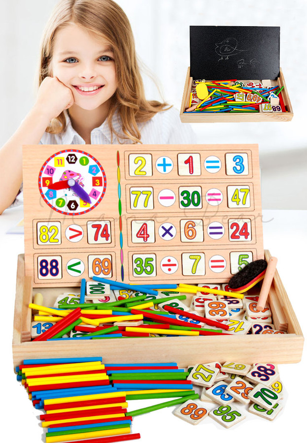 Kids Math Learning Wooden Numbers Clock Puzzle With Chalkboard ...