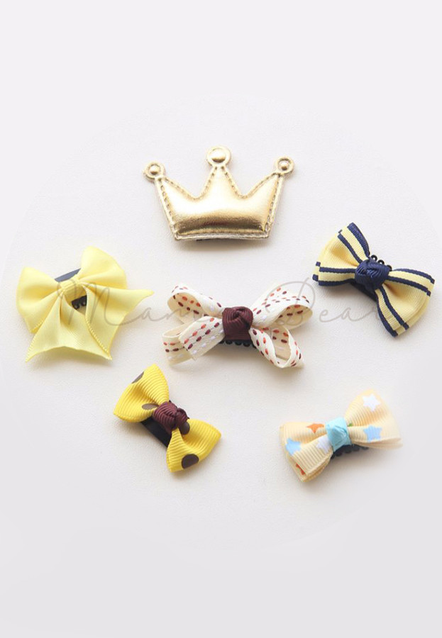 Lovely Yellow Ribbons Baby/Kids Hair Clip Set