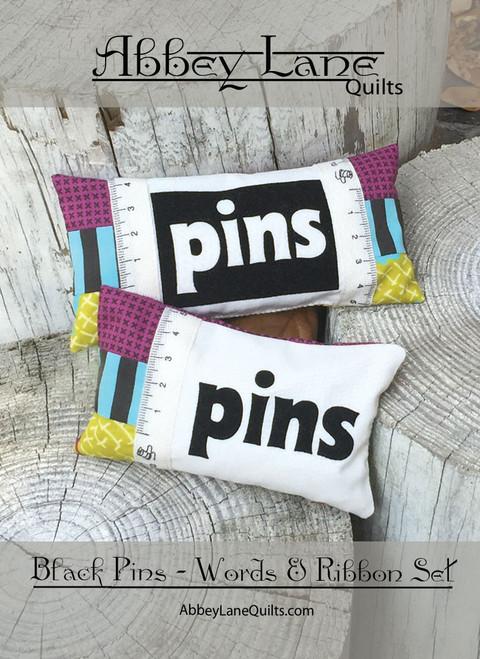 Black Pins - Words and Ribbon Set #227 - R