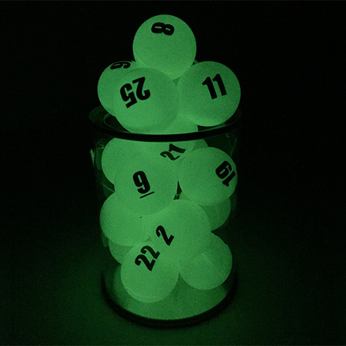 Individually Numbered Glow in the Dark Ping Pong Balls - Double Side Imprint