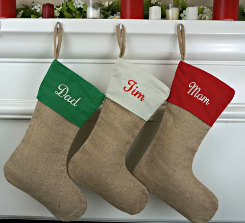 PERSONALIZED Traditional Burlap Stocking