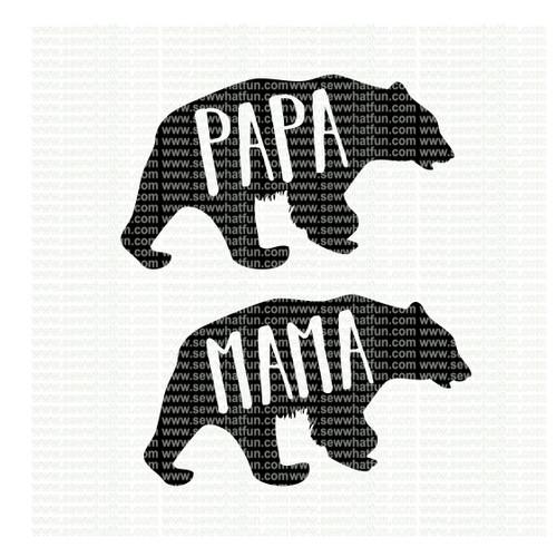 Mama and Papa Bear SVG