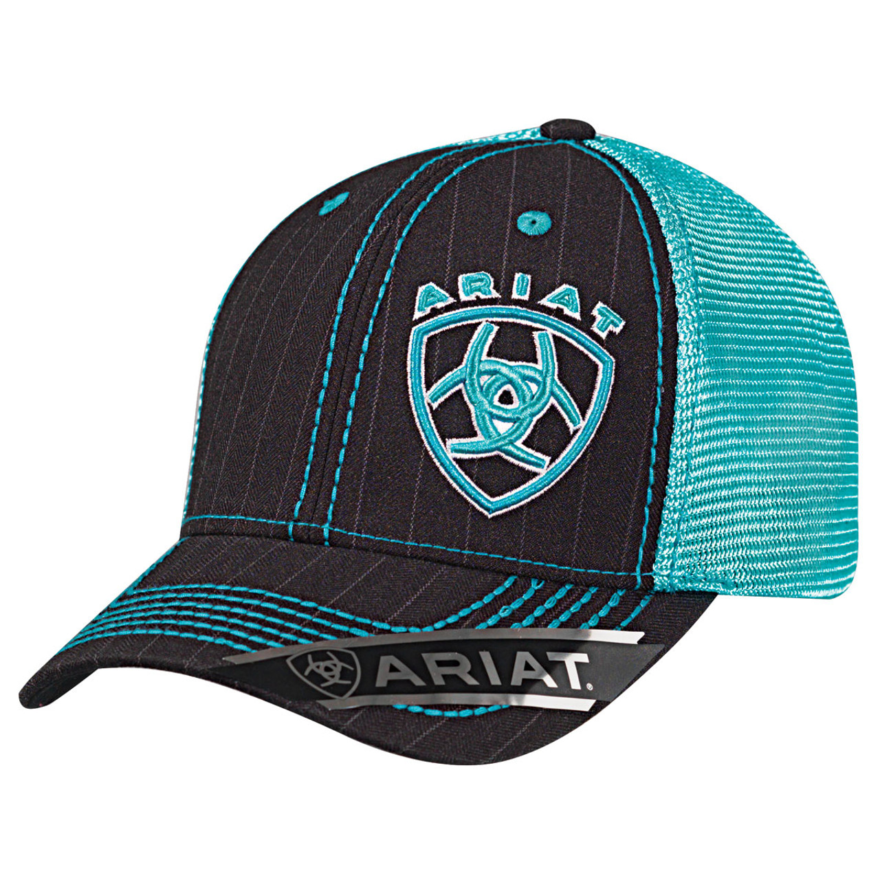 Ariat Men\'s Black Pinstripe Ball Cap with Turquoise Accents - Option ...