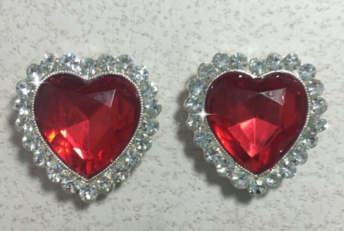26mm, Red Rhinestone Flatback Hearts, Rhinestone Hearts, Heart Embellishments, Valentine's Hearts, Rhinestone Heart, 1PC