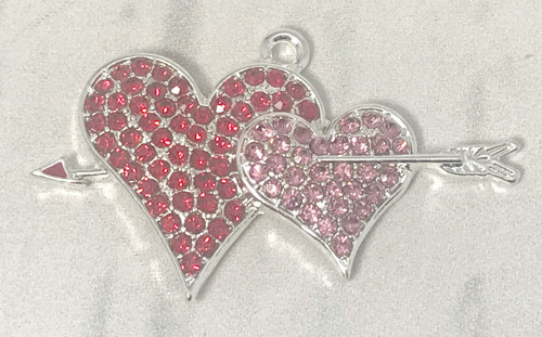 15*30mm, Double Heart Pendant, Rhinestone Pendant, Pink Heart, Red Heart, Valentine's Pendant, DIY Necklace, Wholesale Pendants, (793)