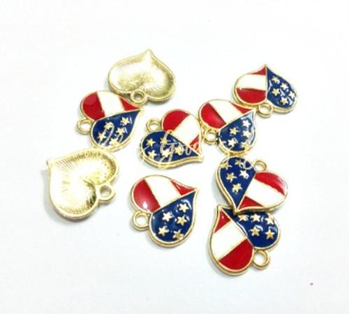 Wholesale pendants rhinestone pendants enamel pendants 16mm heart charms july 4th charms american flag charm gold flag aloadofball Choice Image