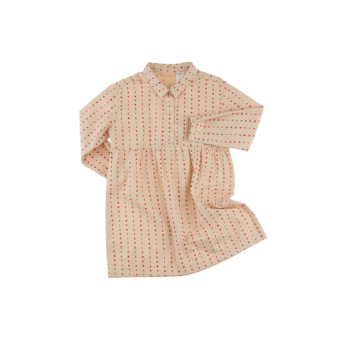 TINY COTTON | ALPHABET SOUP WOVEN DRESS | BEIGE