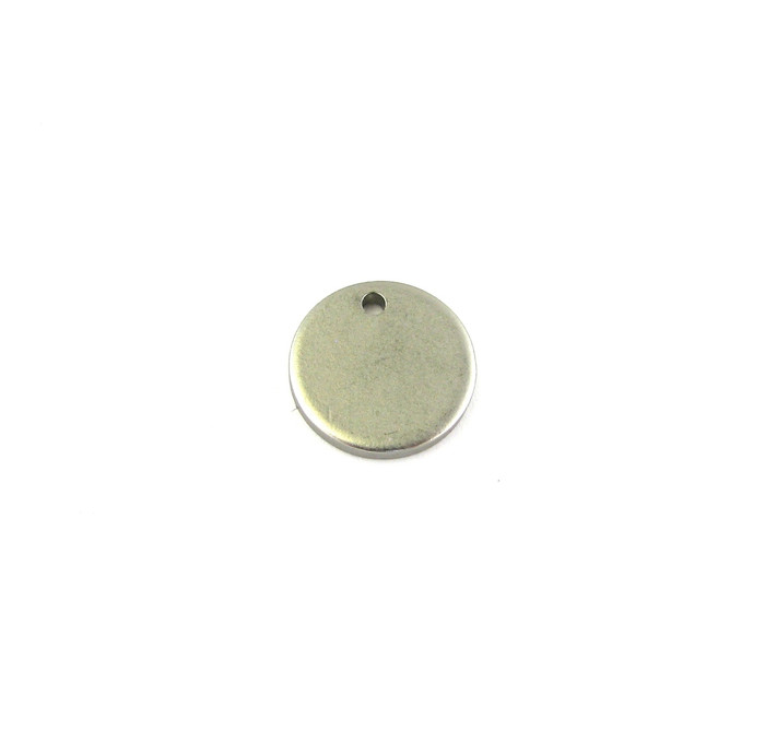 Satin Rhodium 12mm Small Disc Drop/Charm (Sold by the Piece)