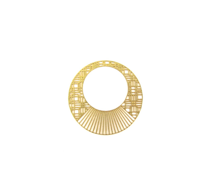 Satin Hamilton Gold 24mm Round Thin Flat Bauble. Also used as a small Pendant (Sold by the Piece)
