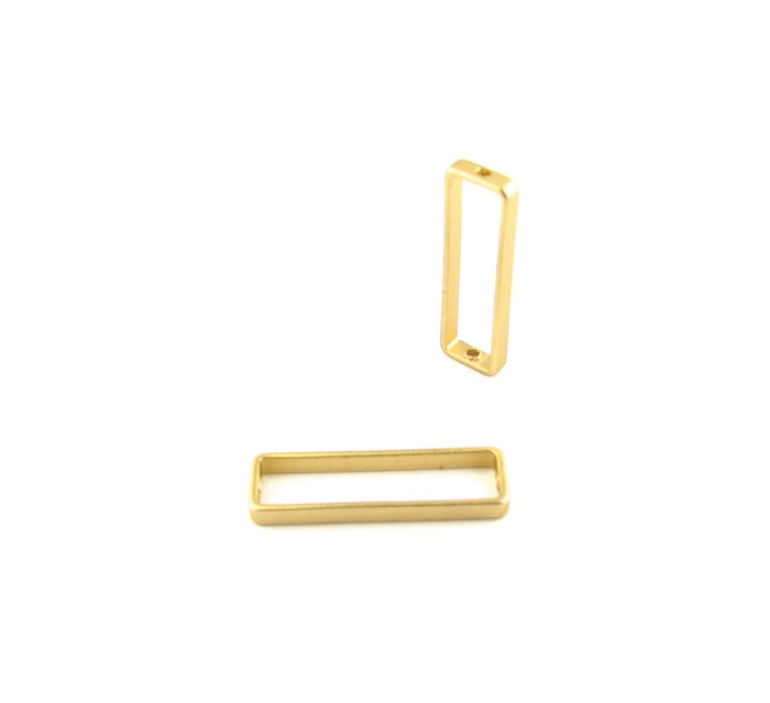 Satin Hamilton Gold 26mm x 8mm Rectangular Bead Frame w/Hole on each end (Sold by the Piece)