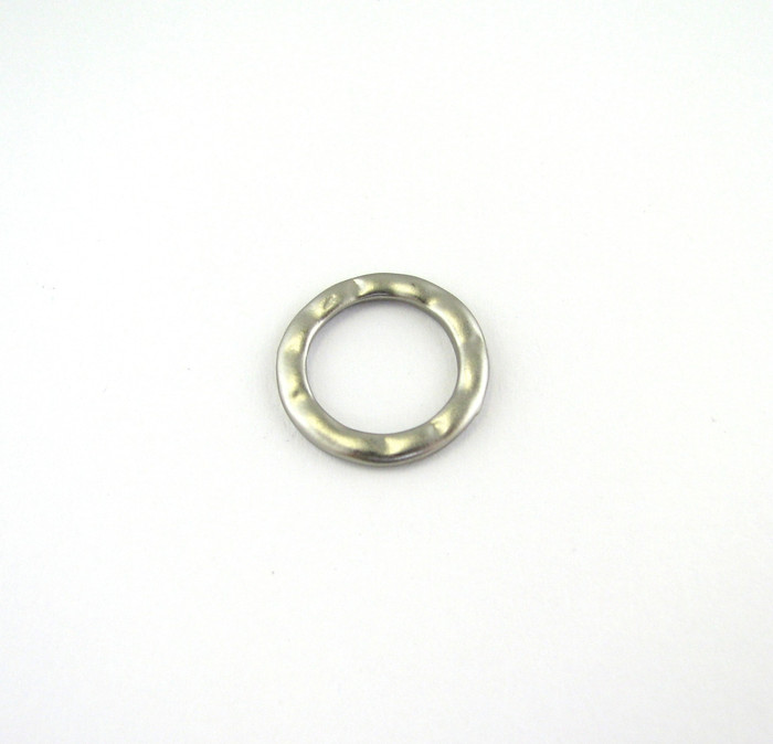 Satin Rhodium 15mm Round Soldered Textured Ring (Sold by the Piece)