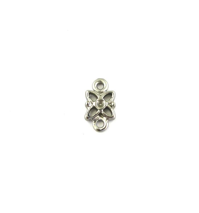 Satin Rhodium 10mm Flower Connector (Sold by the Piece)