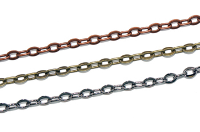CH212-AB - 8mm x 6mm Flat Oval Chain, Electroplated (Antique Brass)  (Discontinued Limited Stock Available)
