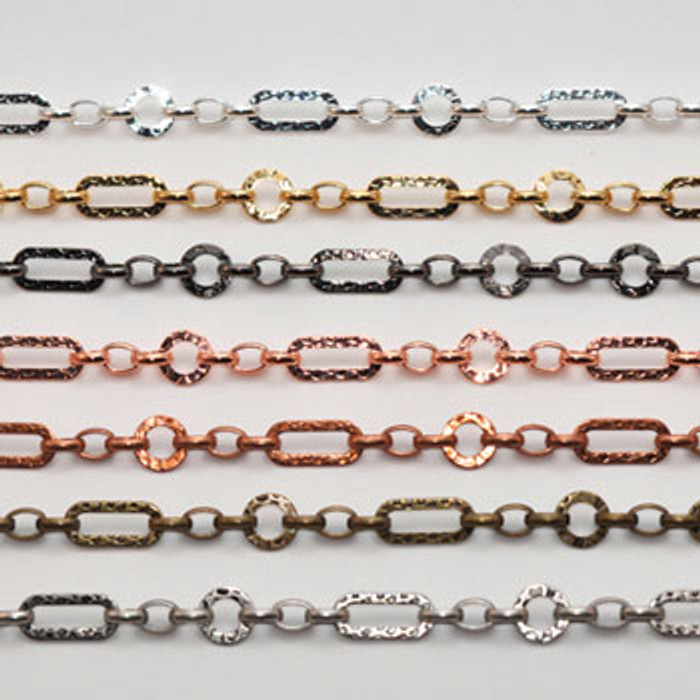 CH813-AC - 9mm Hammered Chain, Electroplated (Antique Copper) (Discontinued Limited Stock Available)