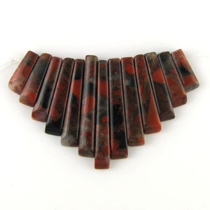 CL0012 - Poppy Jasper Semi-Precious Stone Collar (13 pieces)