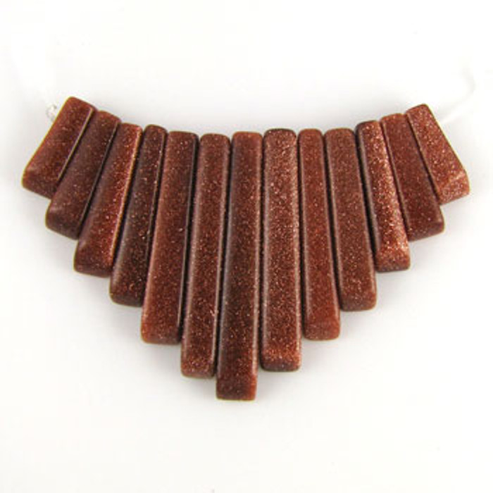 CL0013 - Goldstone, Brown Semi-Precious Stone Collar (13 pieces)