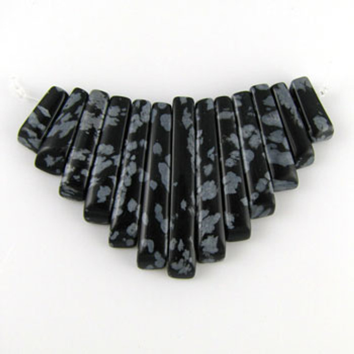 CL0016 - Snowflake Obsidian Semi-Precious Stone Collar (13 pieces)