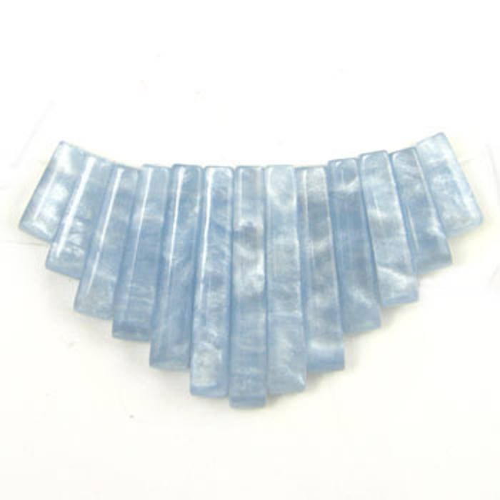 CL0038 - Simulated Blue Lace Agate Semi-Precious Stone Collar (13 pieces)