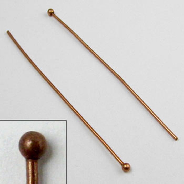 2 in. Ball-End Headpin, 20 gauge, Antique Copper Plated (pkg of 50)