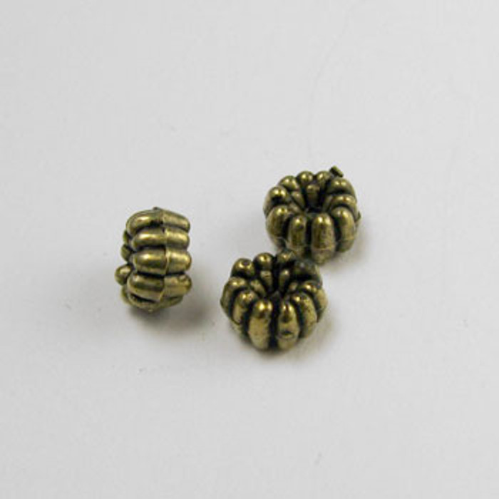 GP0004 - 4mm Flower Rondelle, Antique Oxidized Gold Plate (pkg of 50)