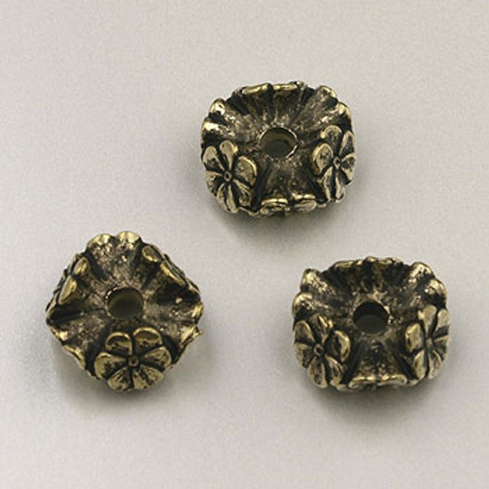 GP0007 - 10mm Flower Rondelle, Antique Oxidized Gold Plate (pkg of 25)