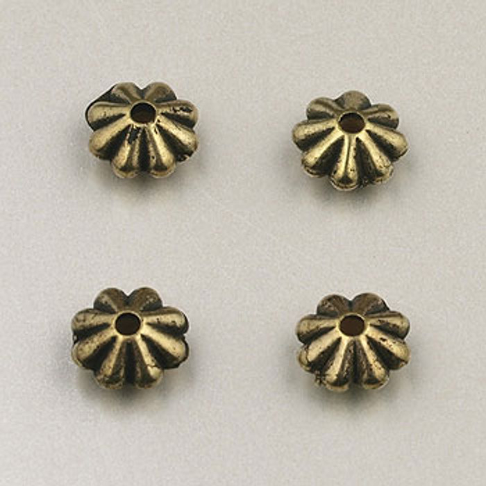 GP0008 - 6mm Daisy, Antique Oxidized Gold Plate (pkg of 200)